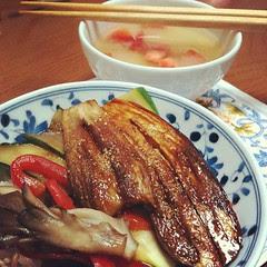 nasu kabayaki donburi & tanita shokudo's tomato onion miso soup #dinner #japan