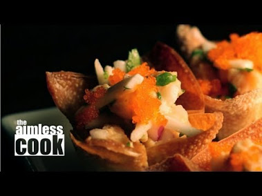 Last week, I asked you what your favorite party food was. Today, I am featuring the comment with the most 'thumbs up' - which belongs to chinaeyes22, aka Jason Telmo of the NoyTube Stars. Jason was looking for a fresh new presentation for raw salmon or tuna. Sadly, I have no oysters, but today's recipe can use either salmon or tuna. In honor of Jason and the Philippines, I am using some inspiration from Pinoy cuisine and giving my fish the kinilaw treatment. Kinalaw is a Filipino ceviche with tropical infusion. With a little imagination and creativity, we have made a delicious and colorful party food that you will love. Music by Jason Shaw, used with permission