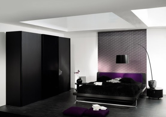 Black And White Bedroom Designs with Deep purple color