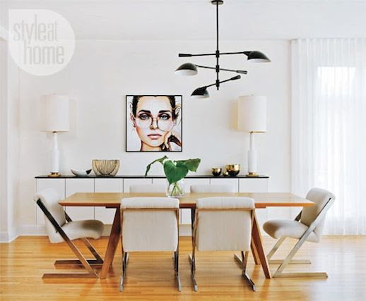 Le Fashion Blog A Fashionable Home Mid Century Modern Glamour Canada Style At Home Magazine Sarah Blakely Dining Room Jessica Rae Sommer Portrait Art Painting 4 photo Le-Fashion-Blog-A-Fashionable-Home-Mid-Century-Modern-Glamour-Canada-Style-At-Home-Magazine-Sarah-Blakely-Dining-Room-4.jpg