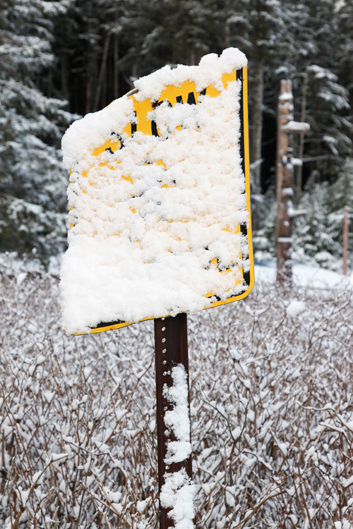 snow on sign, Kasaan, Alaska