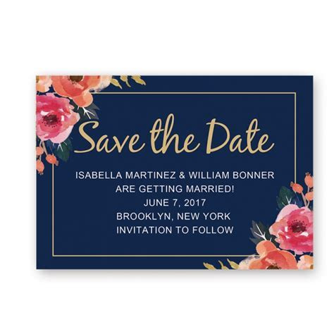 Cheap Rustic Chic Navy Blue Fall Wedding Save The Date