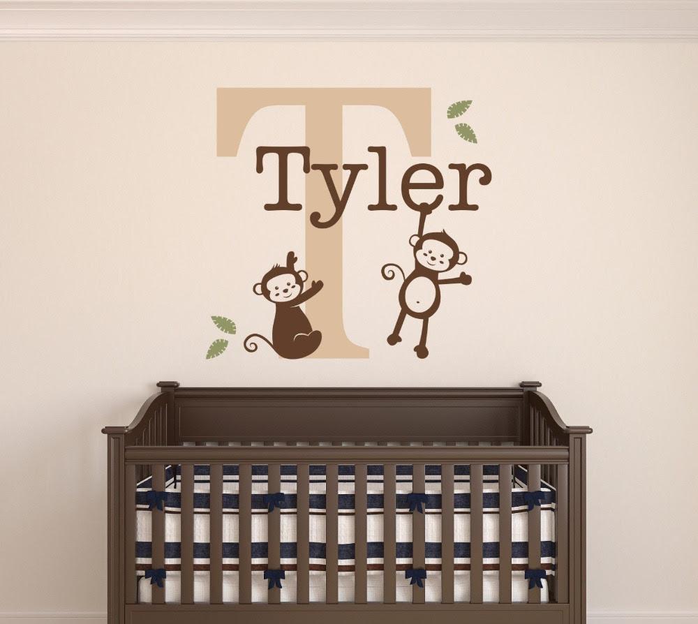 Custom Monkeys Name Wall Decal Baby Boys Room Decor ...