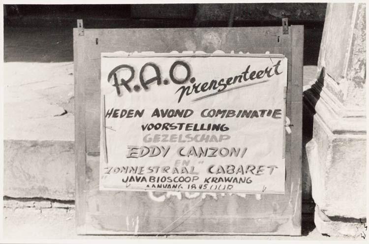 Poerwakarta / Aankondigingsbiljet voor een R.A.O. voorstelling van Eddy Canzoni en ''Zonnestraal' Cabaret in de Java Bioscoop te Krawang