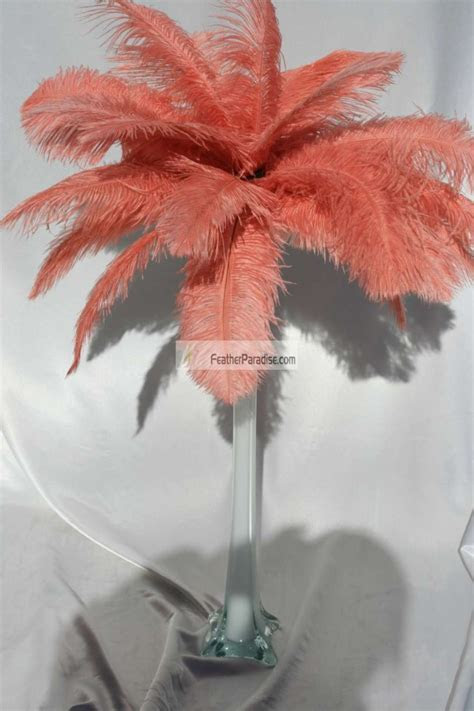 Coral Ostrich Feather Centerpieces/Feather Plume Palm Tree