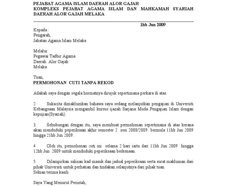 Contoh Surat Rasmi Untuk Permohonan Kerja - Contoh IK