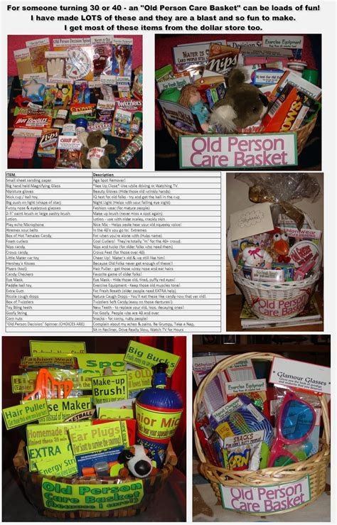 30th or 40th Birthday gift: Old Person Care Basket