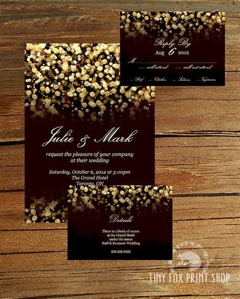 PRINTABLE Gold Glitter Gatsby Wedding Invitation Kit with