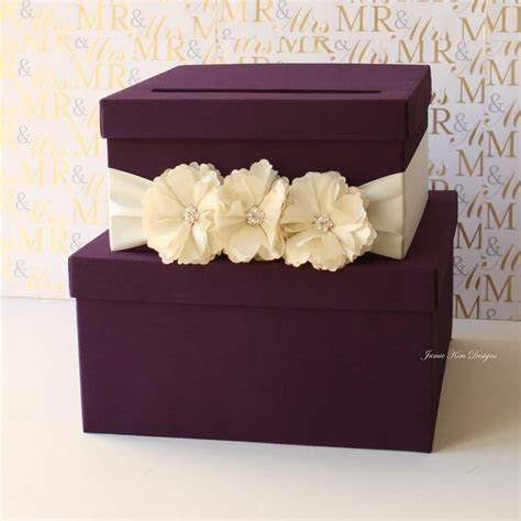 Purple Tiered Wedding Card Box   Wedding Card Boxes