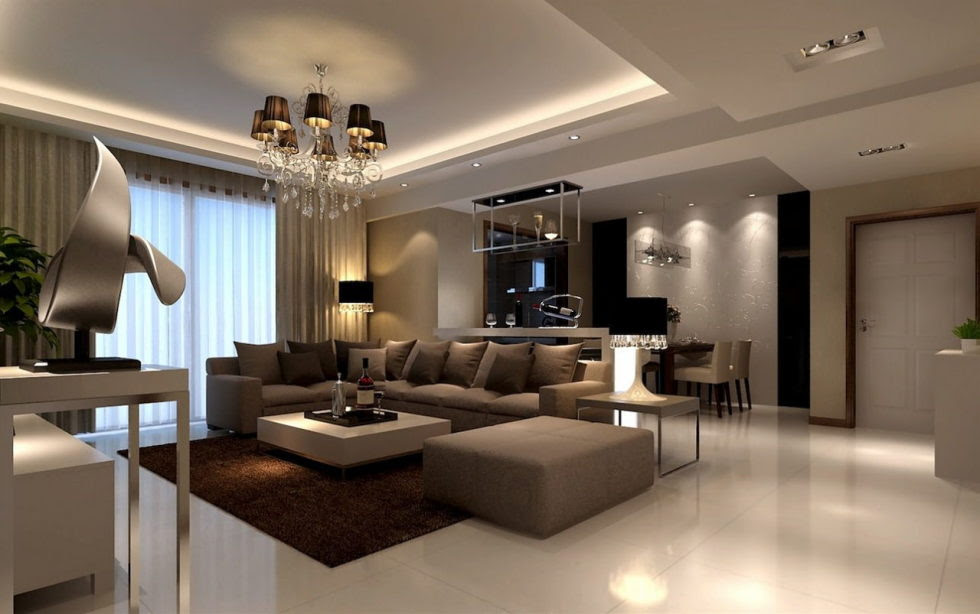The interior of a living room in brown color: features ...