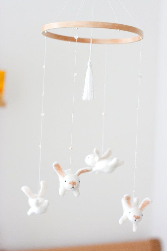 nursery mobile - baby crib mobile - bunny mobile - made to order on Etsy, $136.95