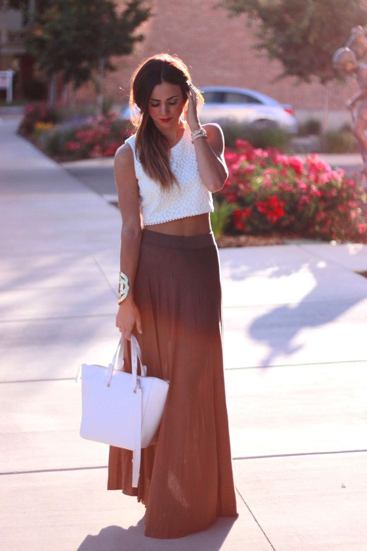 lace crop top + maxi skirt