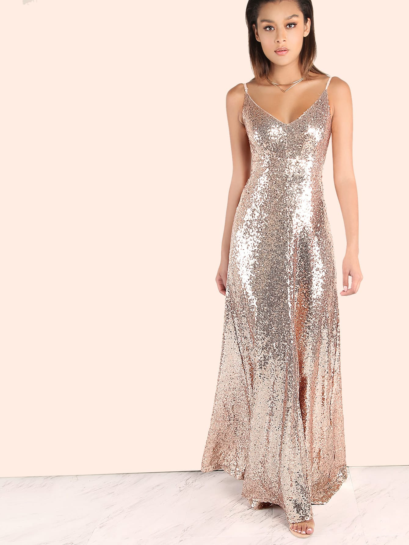 backless sequin cami maxi dress rose gold sheinsheinside