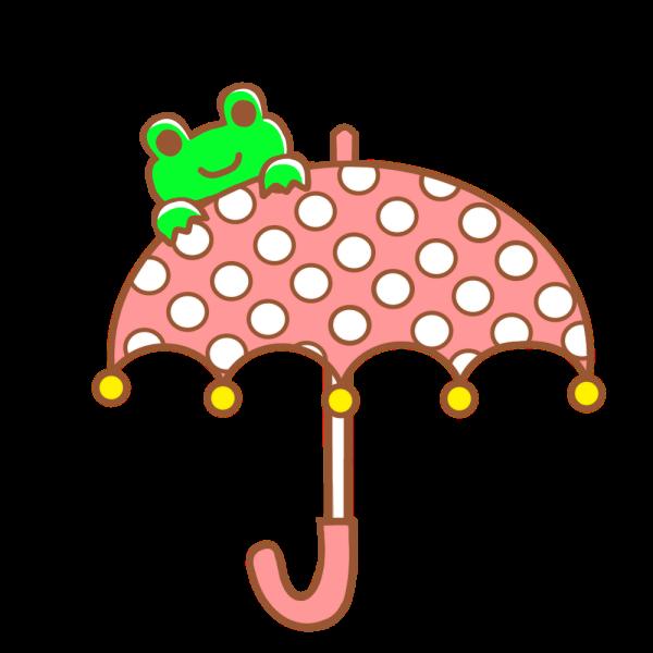 カエルと傘のイラスト かわいいフリー素材が無料のイラストレイン