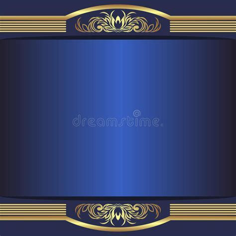 Luxury Blue Background With Elegant Golden Borders And
