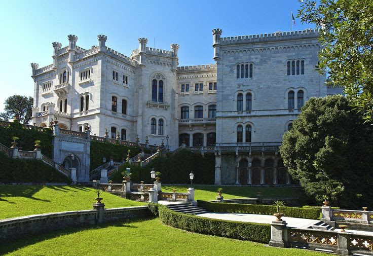 Miramare Castle (Italian: Castello di Miramare; German: Schloß Miramar; Slovene: Grad Miramar) is a 19th-century castle on the Gulf of Trieste near Trieste, northeastern Italy. It was built from 1856 to 1860 for Austrian Archduke Ferdinand Maximilian and his wife, Charlotte of Belgium, later Emperor Maximilian I and Empress Carlota of Mexico, based on a design by Carl Junker.