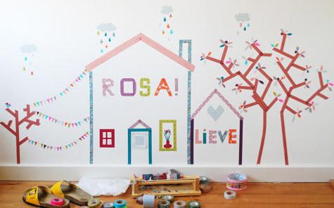 26. Цветные наклейки на стены из декоративного скотча дети, поделки, своими руками, сделай сам, творчество