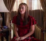 Leighton Meester as Blair wearing Catherine Malandrino