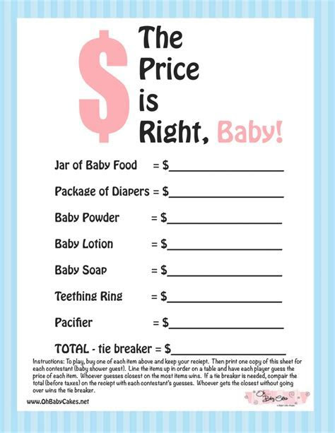 The Price is Right Baby Shower Game (Blue)