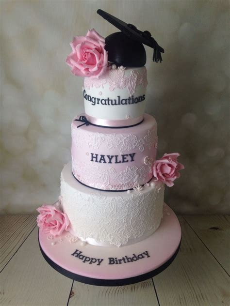 Pink and black with cake lace graduation cake   cake