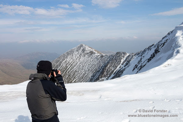 01M-9529 Photographing Swirral Edge and the Mountain of Catstycam in Winter Lake District Cumbria UK