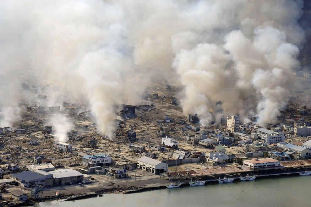 Город города Ямада в префектуре Иватэ выглядит, как после бомбежки