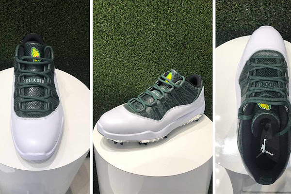 buy online 9639e 8caa6 New Jordan XI golf shoe pays homage to Augusta National and Masters. Nike s  Jordan shoes are a ...