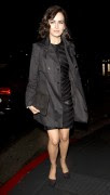 Camilla Belle wearing a leather dress and a black long jacket braves the rain as she arrives at 'Chi Lin' Restaurant in West Hollywood 1/03/14 x17 HQ's