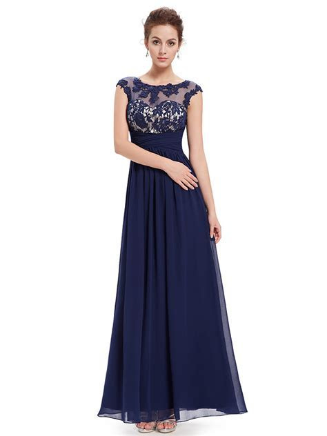 High Neck Lace Illusion Navy Maxi Dress 2016,Blue