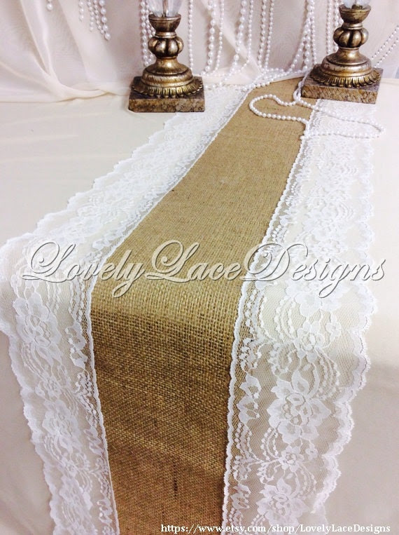 Burlap Runner with Ivory Lace, 30ft x 13in Wide x 10 yds Long, Rustic, Burlap & Lace Wedding Decor
