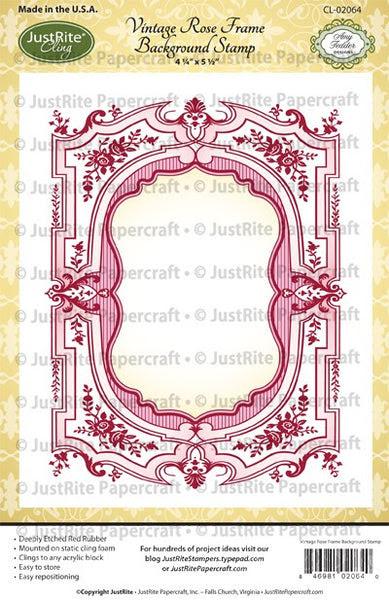 Vintage Rose Frame Cling Background Stamp