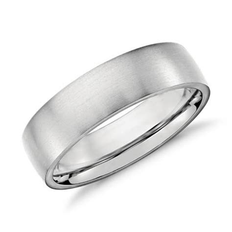 Low Dome Comfort Fit Wedding Ring in Platinum (6mm)   Blue