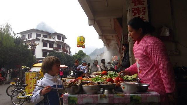 X ordering a great soup, Yangshuo