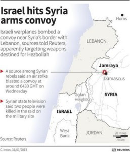 Map locating the Syrian town Jamraya which was hit by an Israeli air strike on Wednesday. (Reuters graphic)