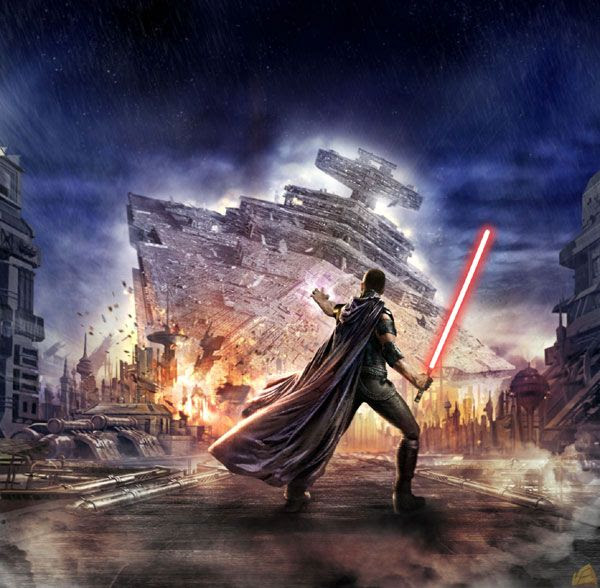 A character named Starkiller uses the Force to bring down a Star Destroyer in STAR WARS: THE FORCE UNLEASHED.