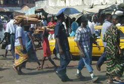 Street scene in Freetown, the capital of Sierra Leone