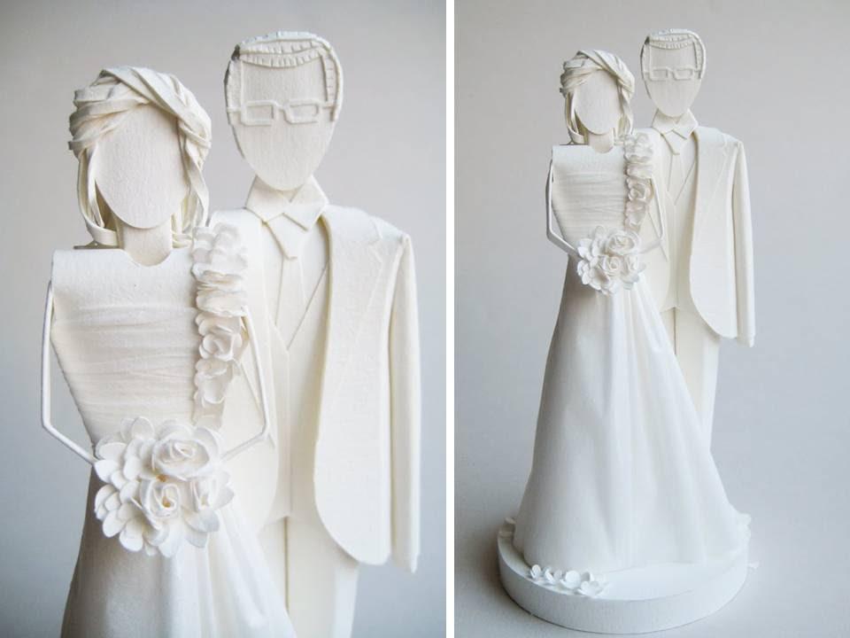 Allwhite handmade wedding cake topper of bride and groom