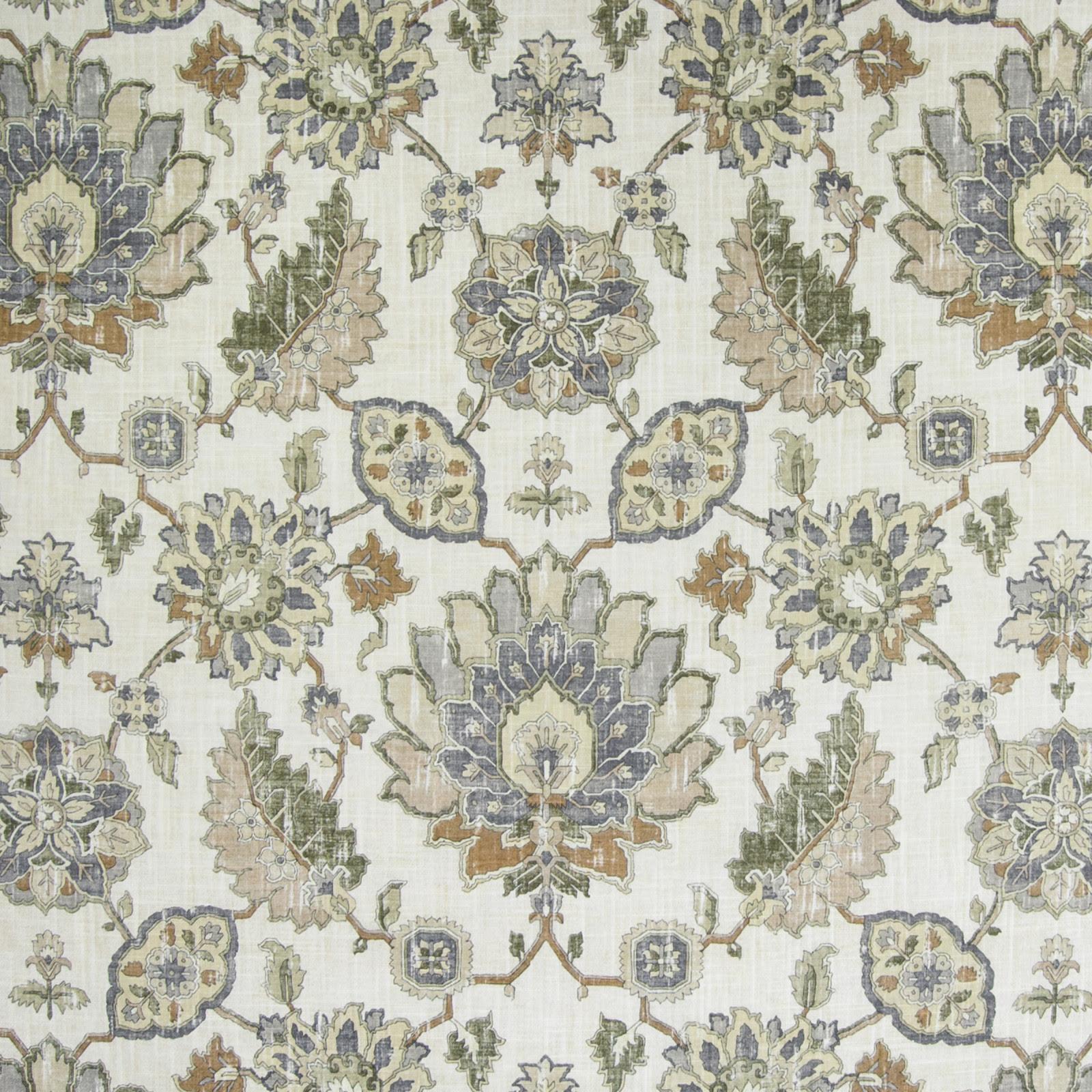 Travertine Neutral Medallion Linen Upholstery Fabric