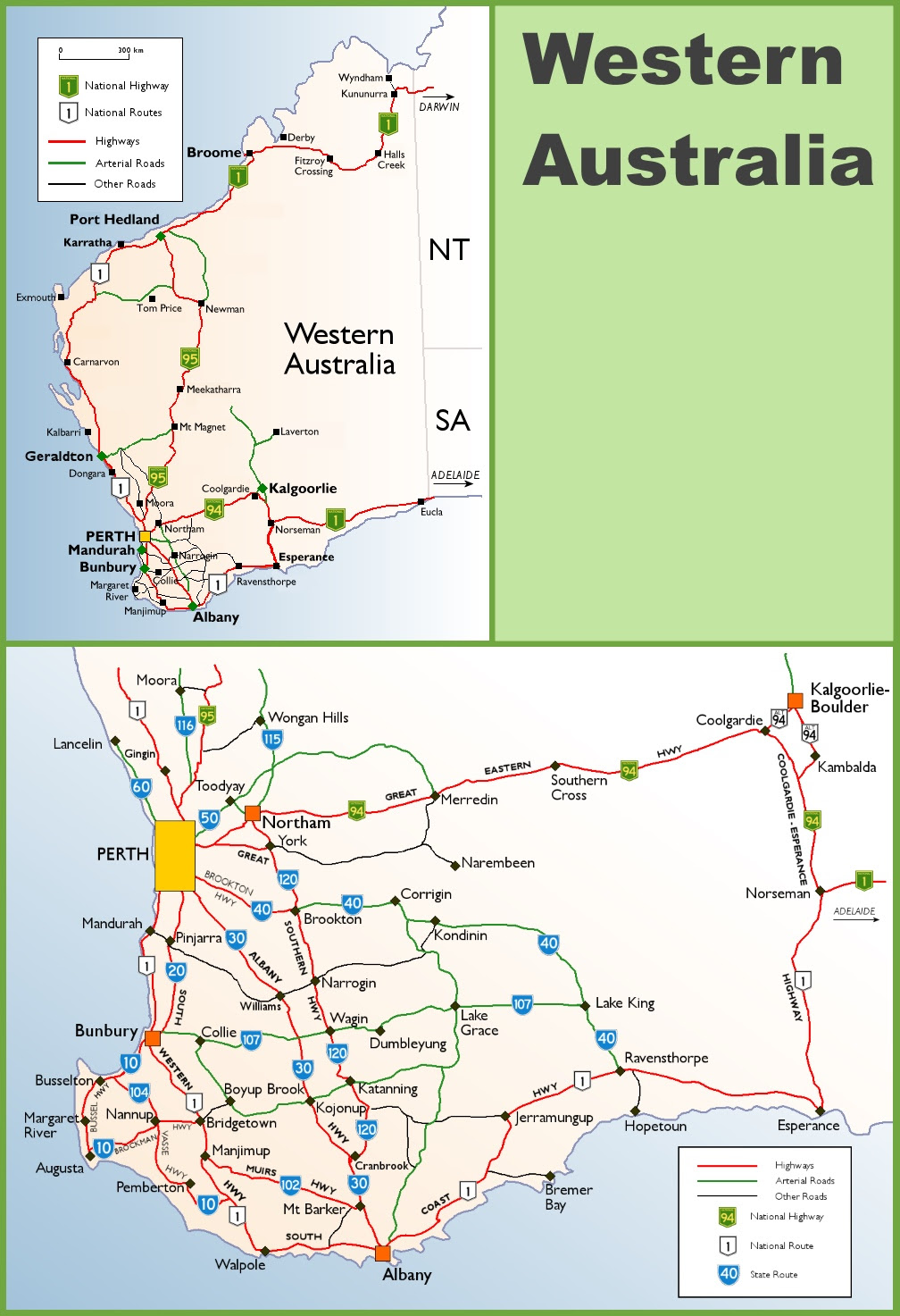 western australia highway map