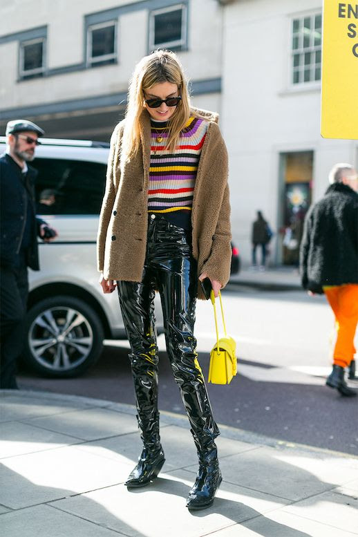 Camille Charriere Street Style Fall Winter Outfit Bright Striped Sweater Fuzzy Coat Patent Leather Pants Boots Yellow Bag Blogger Le Fashion Blog
