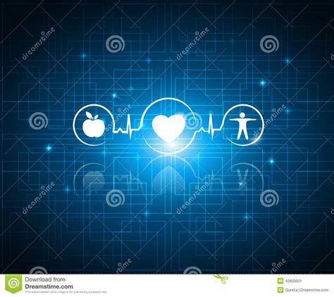 Healthy Living Symbols On A Technology Background Stock