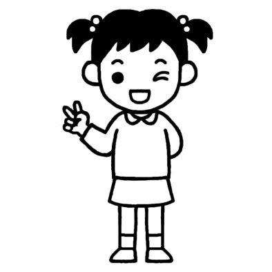 女の子8小学生ポーズ人物無料白黒イラスト素材