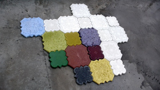 Colored Concrete Tile: Flaster from Ivanka | Interior Decorating