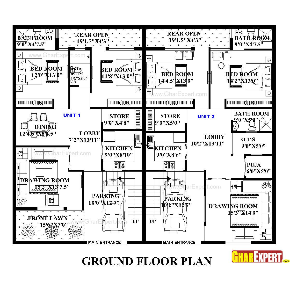 House Plan For 50 Feet By 45 Feet Plot Plot Size 250 Square Yards