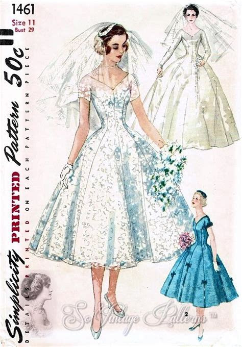 1950s BEAUTIFUL Wedding Dress Pattern SIMPLICITY 1461
