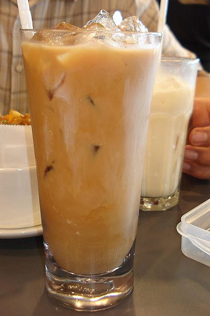 HK style milk tea and almond milk (background)