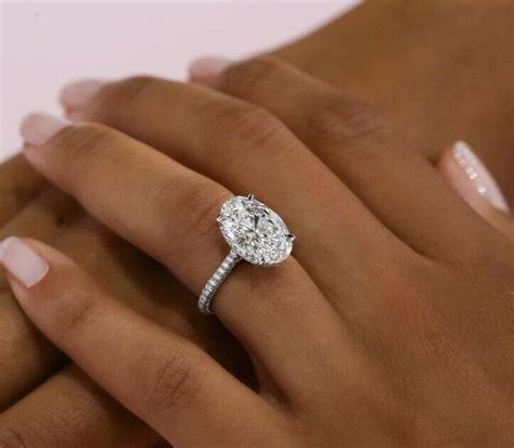 1.35 Ct. Oval Cut Micro Pave Diamond Engagement Ring GIA
