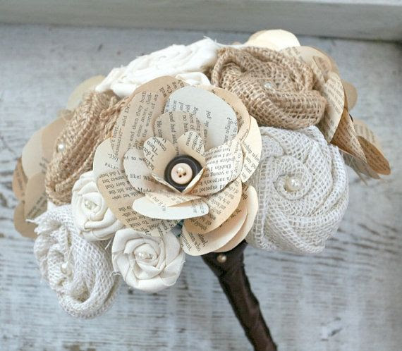 Handmade Burlap Flower, Vintage Book Page & Button Rose, and Fabric Rosette Heirloom Wedding Bouquet - Brown, Cream, Ivory, Vintage, Autumn on Etsy, $95.00
