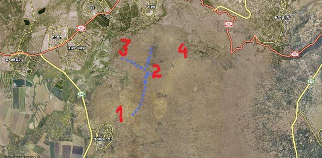 מפת המסע (הנקודות הכחולות - מסלול ההליכה). 1. גבעת האם. 2. מוצב בורג' בביל. 3. מוצב תל עזזיאת. 4 תל פאחר