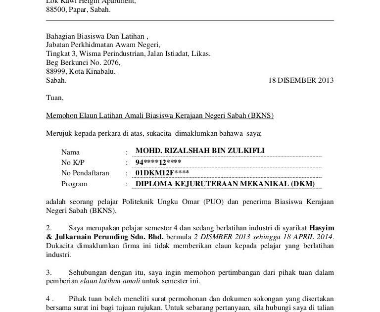 Contoh Surat Rasmi Rayuan Permohonan Pinjaman Mara Viral Blog H